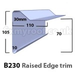 B230 fibreglass raised edge drip trim sizes size dimensions