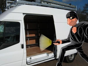 Van being robbed burgled broken into